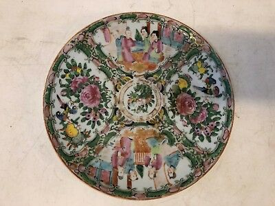 Antique Chinese Porcelain Famille Rose Plate with Floral Bird Decorations