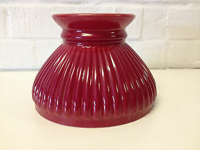Vintage Red / Burgundy Cased Glass Lamp Shade / Ceiling Fixture