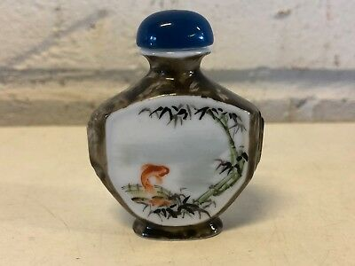 Vintage Chinese Glass Snuff Bottle with Jumping Carp Chinese Man Decorations