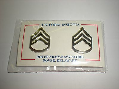 Silver Metal Police/ Law Enforcement Staff Sergeant Collar Rank - One Pair