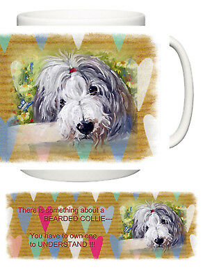 Bearded Collie Dog  New Heart Design Mug Sandra Coen Artist Oil Painting Print