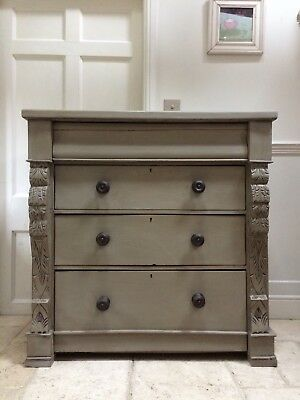 Large Antique Victorian Mahogany Painted Grey Scottish Chest Of Drawers