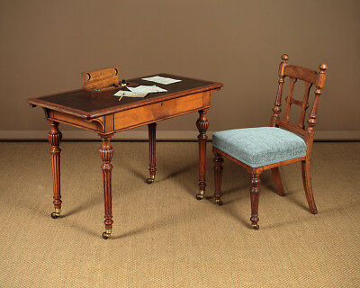 Small Antique Oak Writing Desk & Chair by Lamb of Manchester c.1870.
