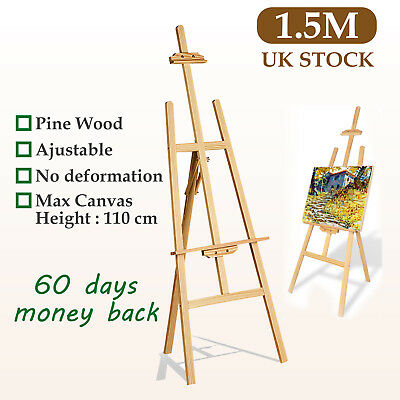 WOODEN STUDIO EASEL ARTIST CRAFT DISPLAY EASELS PINE WOOD LARGE TALL 1.5 1.75 M