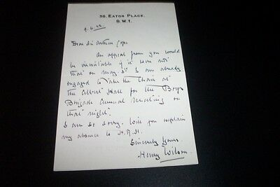 Field Marshall Sir Henry Wilson autographed Letter Signed 2 Months Before Death