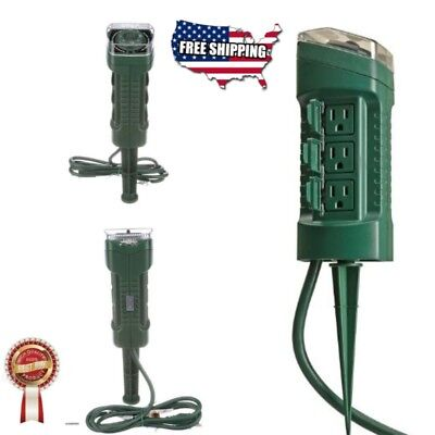 Woods 13547WD Outdoor Yard Stake Photocell Built In Timer 6 Grounded Garden
