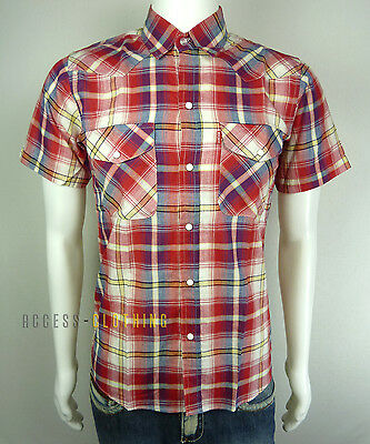 Chemise Manches Courtes Homme À Carreaux Rouge Style Vintage Taille S Neuf 99f6ad4f7da3