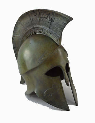 Bronze Helmet with Owl carvings ancient Greek half size reproduction artifact