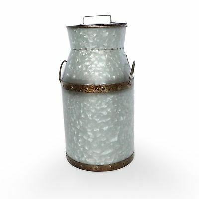 Barnyard Designs Large Rustic Galvanized Tin Milk Can Jug | Vintage Rusty Dis...