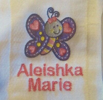 Baby Butterfly embroidered burp cloth Personalized