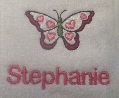 Butterfly embroidered burp cloth Personalized