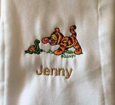 Baby Tigger with turtle embroidered burp cloth Personalized