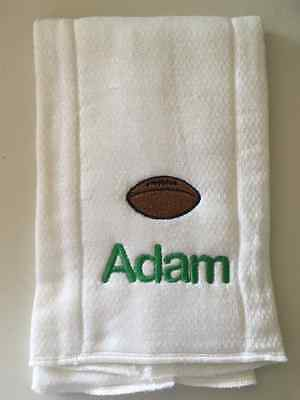 Football embroidered burp cloth Personalized