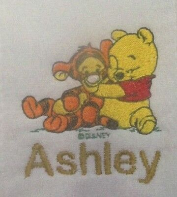Winnie the Pooh with Tigger embroidered burp cloth Personalized