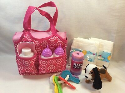 Baby Doll Diaper Bag w/ Accessories Bottles Diapers Plush Rattle Bib ++!!