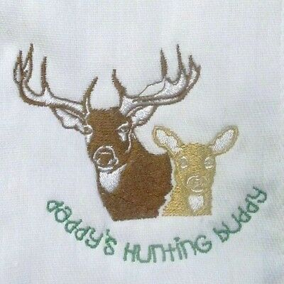 Daddy's Hunting Buddy embroidered burp cloth Personalized