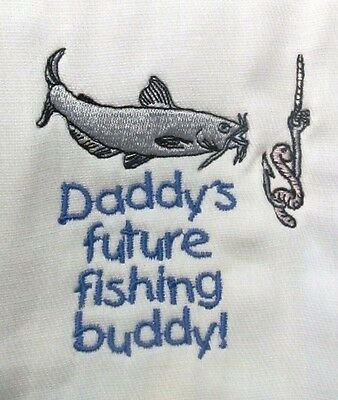 Daddy's Future Fishing Buddy embroidered burp cloth Personalized