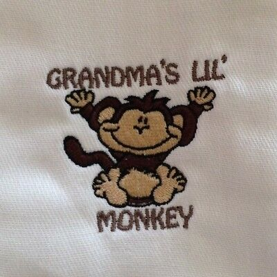 Grandma's Lil Monkey embroidered burp cloth Personalized