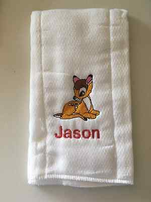 Deer embroidered burp cloth Personalized