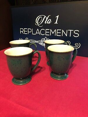 4 x Denby Harlequin Green Out / White Inner Footed Mugs 4.25""