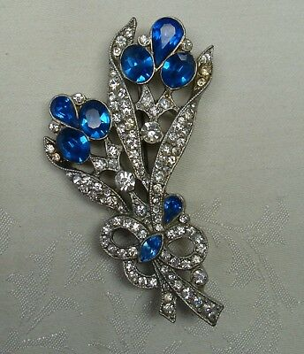 Lovely Vintage Art Deco Large Floral Rhinestone Brooch
