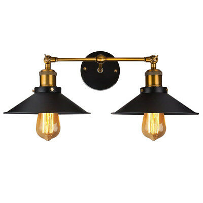 Vintage Industrial Loft Iron Double Rustic Sconce Wall Light Lamp Fixtures