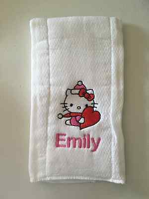 Hello Kitty with Heart embroidered burp cloth Personalized