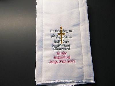 Baptised Embroidered burp cloth Personalized