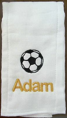 Soccer embroidered burp cloth Personalized