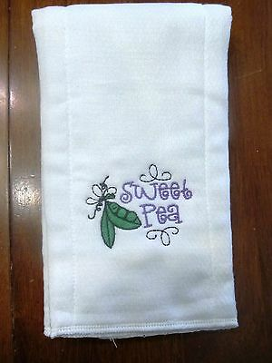 Sweet Pea embroidered burp cloth Personalized