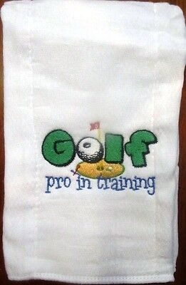 Golf Pro in Training embroidered burp cloth Personalized