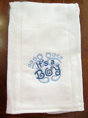 Its A Boy embroidered burp cloth Personalized