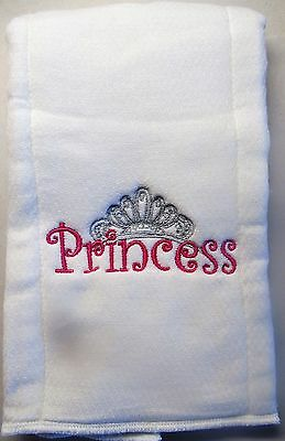 Princess with Crown embroidered burp cloth Personalized