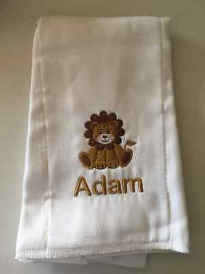 Lion embroidered burp cloth Personalized