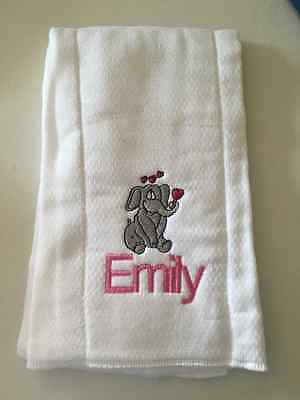 Elephants embroidered burp cloth Personalized PINK