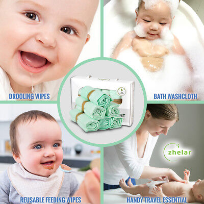 Environmentally Friendly Newborns /& Adults! Glengor Luxury Bamboo Washcloths Great for Sensitive Skin 100/% Organic Pack of 12 Perfect for Babies Perfect as Travel Wipes | Ultra-Soft