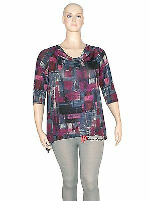 Elementz Women's Top Blouse Purple Pink Blue Black with Metallic Plus 2X $40