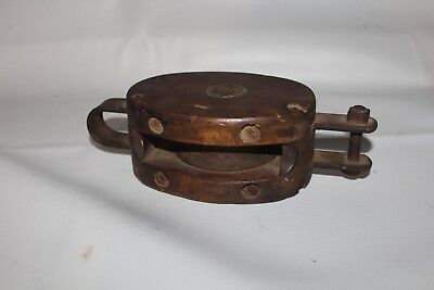 Wood Block & Tackle Pully Metal Wheel by Unknown Ship