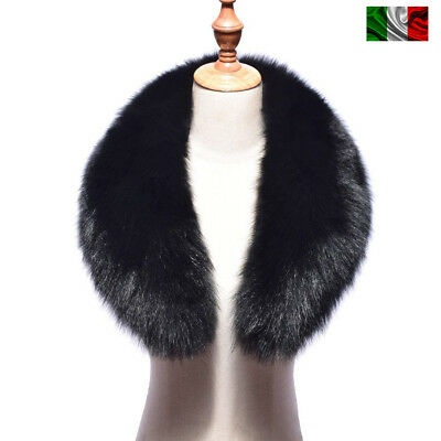 COLLO PELLICCIA di VOLPE NERO FOURRURE de RENARD silver FOX fur LIGHT BLACK