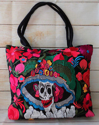 Handmade Embroidered Mexican Tote Bag Handbag Catrina Dia de los Muertos Purse