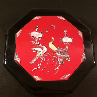 Vintage Korean Covered Octagon Black Lacquer Box Abalone Inlay Design Red Inside