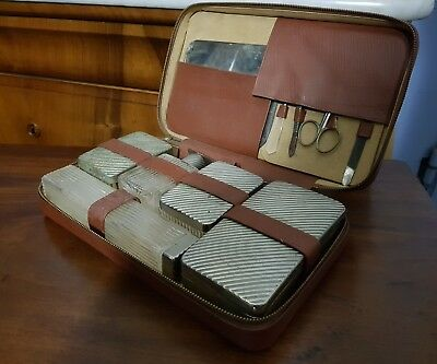 Beauty case SET da Toilette Manicure BEAUTY CASE viaggio Vintage PELLE MARRONE