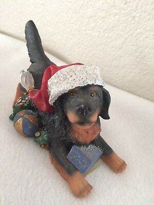 "X-mas Rottweiler Statue Figurine Resin Christmas Collectible Dog Figure 3"" tall"