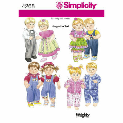 """Simplicity Sewing Pattern 4268 Baby Dolls Clothes 15"""" Dress PJs Overalls Tops"""