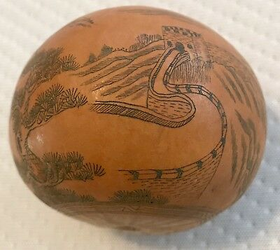 Old Chinese Etched Hand Carved Lanzhou Seed Pod Gourd Great Wall of China
