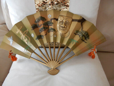 Rare Antique Oriental Japanese Gold Brass Metal Wall Decor Fan Scrolls,happy!