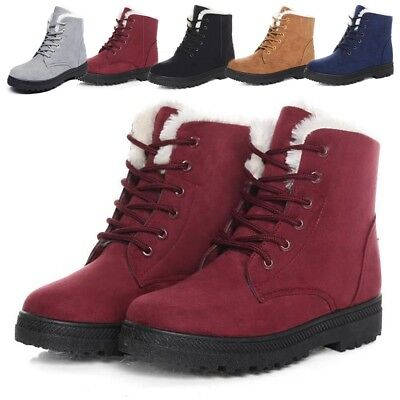 Ladies High Top Ankle Boots Womens Lace Up Sherpa Fleece Fur Lined Shoes Winter