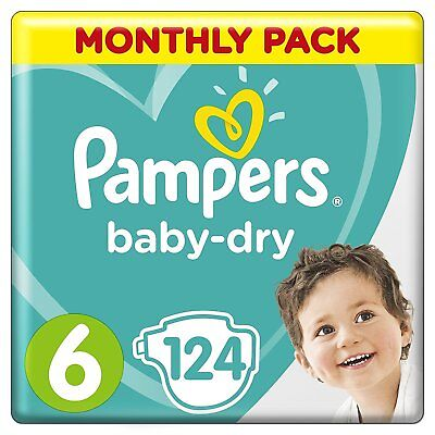 Pampers Baby-Dry Size 6, 124 Nappies, 13-18 kg, Economy Savings Pack