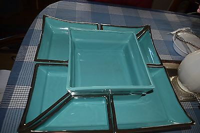 Vintage Glazed Ceramic Turquoise Large Lazy Susan~Appetizers~Chinese Food & More