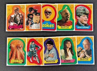 1985 Topps Goonies Complete 15 Card Sticker Set Movie Sloth Mouth Trading Cards